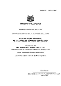 Approved Scaffold Contractor ASC LPC