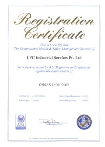 OHSAS Certificate expiring 15Sept2018
