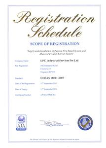 OHSAS Regn Schedule cert Expiry 15Sept2018